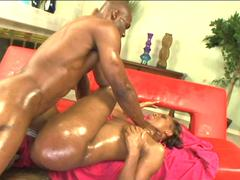 Chubby black chick gets her big ass worshiped with gloves and oil before sex