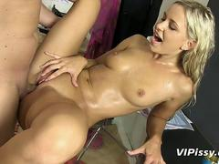 Tiny blonde pisses on her horny lover