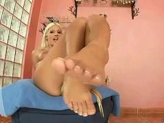 Blonde showing off her sexy feet and soles