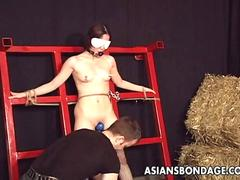 Bound Japanese cutie groans while being vibrated