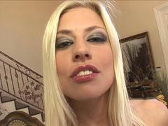Blonde sucks black dick and takes it deep in her great booty