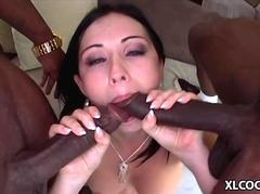 Angell Summers interracial gang bang dick sucking session