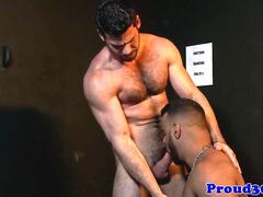 Hairy gay hunk giving stripper a facial