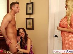 Superb moms Karen Fisher and Syren De Mer share cock