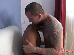 Hot Latino fucking tatted bottom BAREBACK