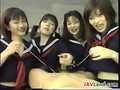 Four Japanese Schoolgirls Playing With A Cock