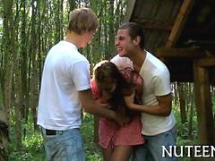 Little teen gets taken out into the woods for a threesome