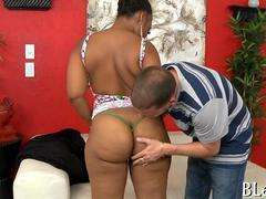 Ebony gets her big ass smacked and fucked from behind
