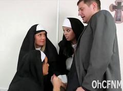 Very sexy Nun rubs and sucks thick cock