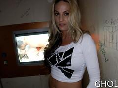 Blonde gloryhole whore blows a kinky stranger