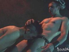 Bound boy released by his old master for a facial