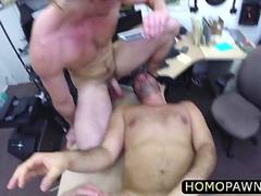 Two hunk straight guys fucking an innocent costumer inside their pawnshop