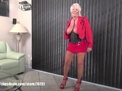 Sexy Granny Mandi McGraw talking about sex store