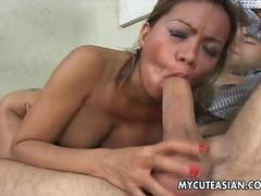 Asian slut has a good time getting pussy fucked