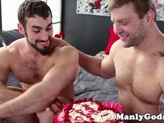Bound bearded bear teased by hunky lover