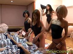 POV asian groupsex with four bodysuit babes