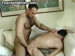 Stud gets fucked anally by a hairy mature hunk