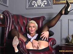 Horny blonde Milf finger fucks her tight moist pussy deep in nylons after date night