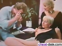 Short haired retro blonde sharing a hard vintage boner in bed
