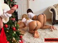 Santa Claus finds two horny hoties waiting by the Xmas tree