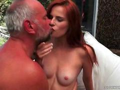 Lucky grandpa fucks beautiful young redhead