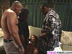 Asian whore with big tits ass fucked and gang banged by blacks