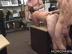 Pawnshop owner enjoys threesome with their hunk and innocent costumer