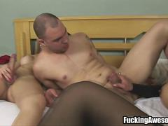 Two Shemales Fuck A Horny Guy