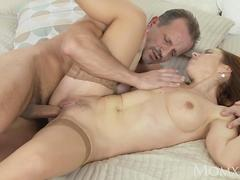 MOM Naughty redhead milf in stockings has the fuck of her life