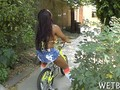 Ebony babe is better at riding dick than a bike