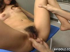 Cute Asian doggy styled in the locker room hard