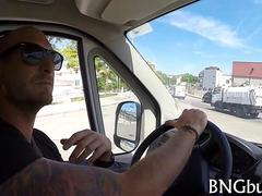 Spanish babe with tattoos fucked in the bang bus for cash