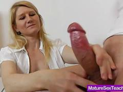 Matured blond jerking off a bud