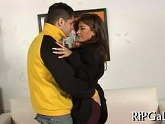 Super hot latina MILF deepthroating a lucky guy