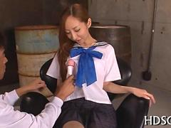 Slim Japanese schoolgirl taken to abandoned house for toy session