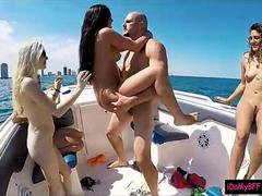 Besties boat party leads to nasty group sex with horny man