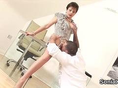 Unfaithful british milf lady sonia shows her heavy knockers