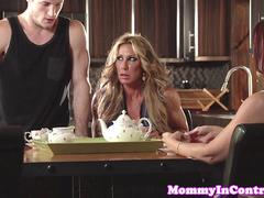 Ginger stepmilf Janet Mason sharing in trio