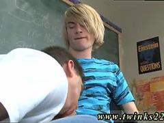 Twink gets his face fucked on a classroom desk