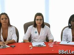 Doctor Brandi Belle examines nude guy in CFNM femdom video