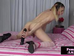 Pigtails femboy toying ass with big dildo