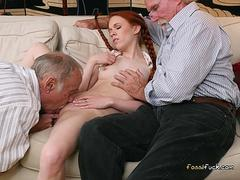 Schoolgirl Dolly Little Gets Shared By Old Men