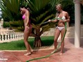 Carie and Natali play with water and have lesbian sex outdoors by Sapphic Erotica