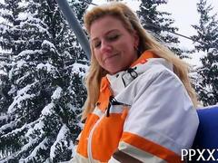 Blonde snow bunny offered money for public sex