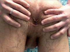 Brunette Twink Stimulates Cock and Asshole in Bath