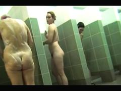 Group hot moms spied in a public shower