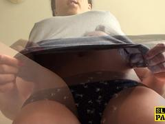 Peeing busty sub wetting her panties