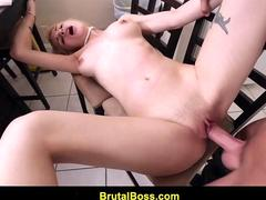 Blonde babe with a tight ass gets rammed from behind