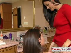 Cougar mom trio in the bathroom with stepteen