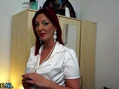 Redhead housewife toying herself